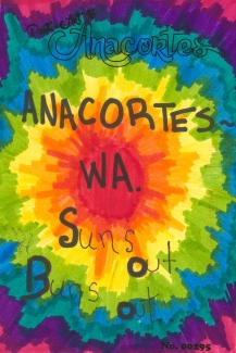 "Multicolored Starburst with words ""Anacortes ~ WA. Suns out Buns out"""