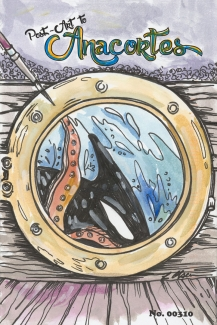 Orca eating Octopus vied through porthole