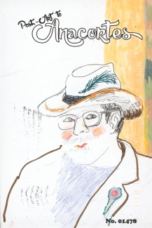 Drawing of a person with a feathered hat, glasses, rosy cheeks, a beard in a jacket with a lapel decoration.