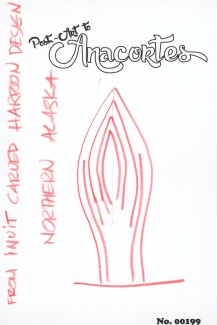 "Text: ""From Inuit Carved Harpoon Design, N. Alaska"" with drawn design to the side."