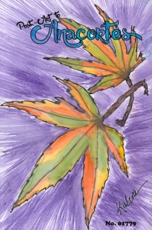 Two maple leaves turning from green to orange and yellow with stems crossed on a purple starburst background.